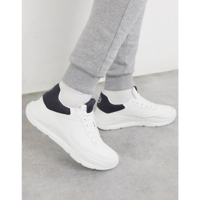 リバーアイランド River Island メンズ スニーカー チャンキーヒール シューズ・靴 chunky trainers in white ホワイト