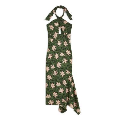 トップショップ TOPSHOP ロングワンピース&ドレス グリーン 6 ポリエステル 100% ロングワンピース&ドレス