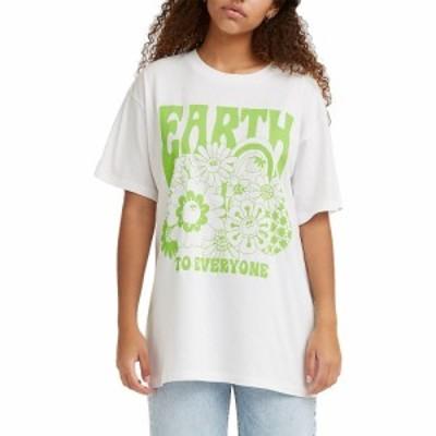 リーバイス LEVIS レディース Tシャツ トップス Levis Roadtrip Graphic T-Shirt Earth To Everyone White