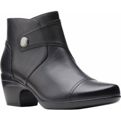クラークス レディース ブーツ・レインブーツ シューズ Women's Clarks Emily Calle Ankle Bootie Black Full Grain Leather