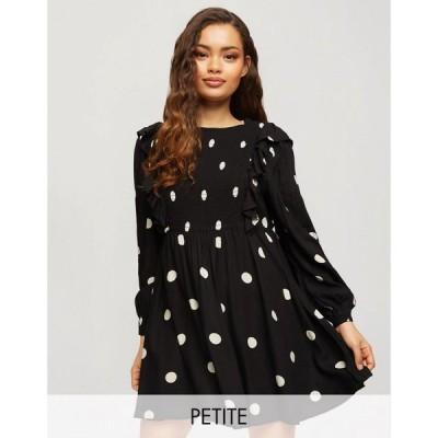 ミス セルフリッジ Miss Selfridge Petite レディース ワンピース ワンピース・ドレス Frill Smock Dress In Black Polka Dot ブラック