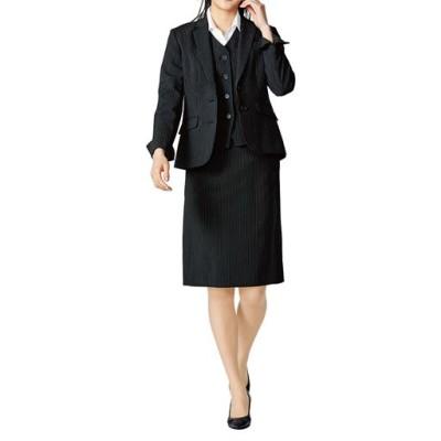 オフィススーツ(3点セット)(事務服・洗濯機OK、撥水、防汚加工、形態安定、ストレッチ素材)/ストライプ/7AR61