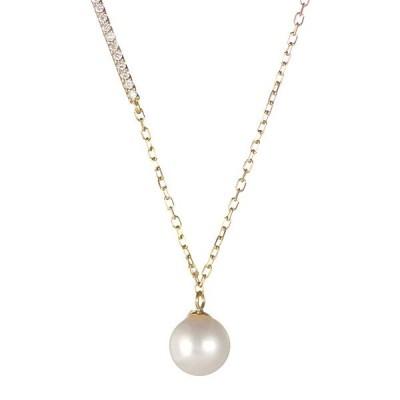真珠 あこや真珠 パール ダイヤモンド ネックレス 一粒 18金【今だけ代引手数料無料】