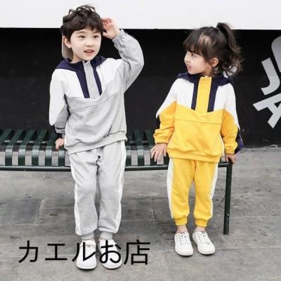 韓国子供服 スウェット ジャージ 2点セット 女の子 男の子 キッズ スウェットトレーナー 暖かい 春秋 運動着 90 100 110 120 130cm イエロー グレー ブルー