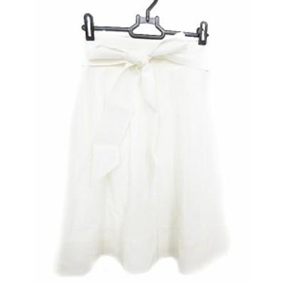 【中古】ヴァニラコンフュージョン スカート ひざ丈 フレア タック リボン 38 白 ホワイト /AAO8 レディース