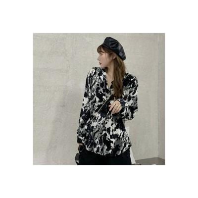 【送料無料】女性 インクプリント シャツ デザイン 感 小 秋 フレンチ タイプ 西洋風 | 364331_A63697-6209807