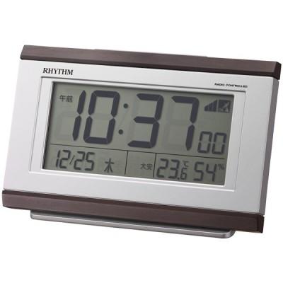 【正規品】リズム時計 RHYTHM クロック CITIZEN シチズン 8RZ161SR06 フィットウェーブD161 電波目覚まし時計 めざまし時計 置時計 温湿度計