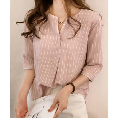 【メゾンドラティール】 カジュアルな中にもエレガントな印象をプラスしてくれるストライプシャツ レディース ピンク XL maison de LATIR