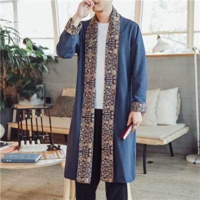 メンズ ロングカーディガン コート 羽織り 薄手 ロング リネン ロングコート 長袖 和柄