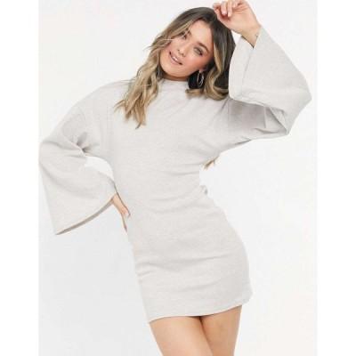 エイソス ミニドレス レディース ASOS DESIGN brushed rib batwing cut out back mini dress in stone エイソス ASOS ベージュ