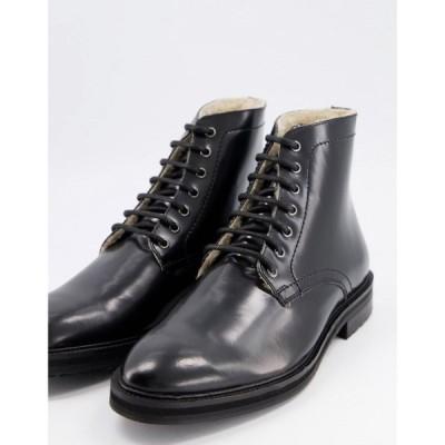 エイソス ASOS DESIGN メンズ ブーツ レースアップブーツ シューズ・靴 lace up boots in black patent leather with borg lining ブラック