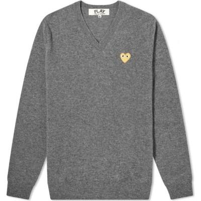 コム デ ギャルソン Comme des Garcons Play メンズ ニット・セーター Vネック トップス Gold Heart V-Neck Jumper Grey