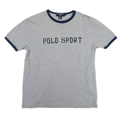 ポロ スポーツ ラルフローレン ロゴTシャツ ポロスポ ロゴ グレー×ネイビー 表記サイズ:M