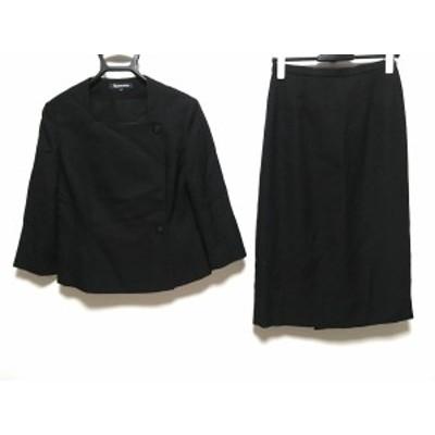 アクアスキュータム Aquascutum スカートスーツ サイズ11 M レディース 美品 - 黒 肩パッド【中古】20201114