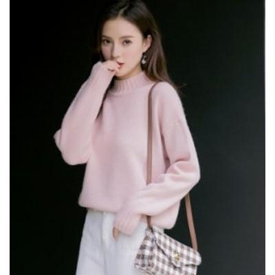大きいサイズ レディース ニット セーター クルーネック ゆったり 無地 長袖 体型カバー ベーシック カジュアル 韓国 オルチャン