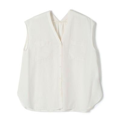 【シップス】 ポケットVネックショートスリーブシャツ レディース ホワイト 36 SHIPS