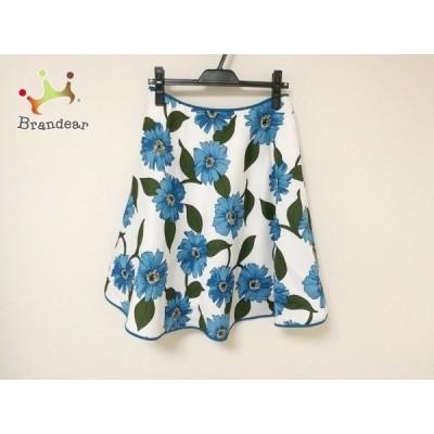エムズグレイシー M'S GRACY スカート レディース - ブルー×白×マルチ ひざ丈/花柄 新着 20201004