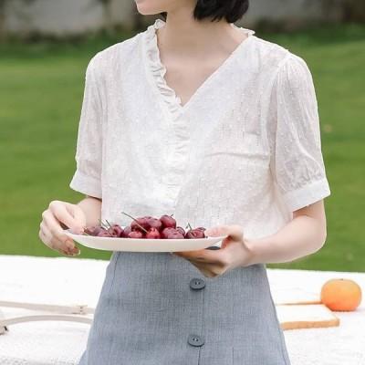 売れ筋 夏物トレンド ブラウス 半袖 Vネック シャツ 織り柄 フリル カジュアル デート
