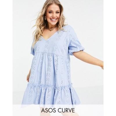 エイソス ASOS Curve レディース ワンピース Vネック ASOS DESIGN Curve broderie v neck smock dress with puff sleeve in cornflower blue ペールブルー