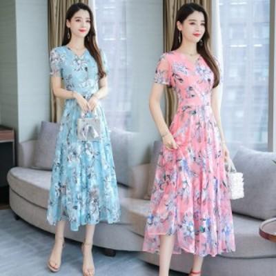 女性の夏の半袖花柄のカジュアルなロングドレス