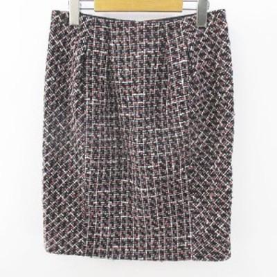 【中古】アンタイトル UNTITLED チェック柄 膝丈 タイトスカート ツイード 2 黒 ブラック 日本製 スリット 毛 ウール