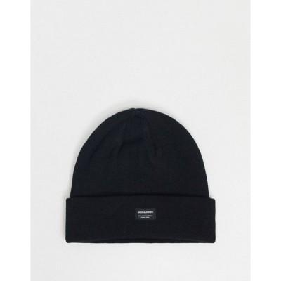 ジャック アンド ジョーンズ メンズ 帽子 アクセサリー Jack & Jones knitted beanie in black
