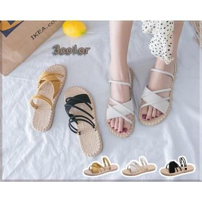 サンダル ミュール レディース 靴 夏 夏物 ぺたんこ 楽チン 無地 シンプル カジュアル フラット 歩きやすい 軽量 履きやすい