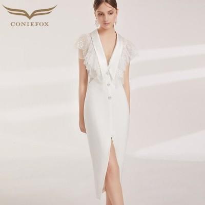 【CONIEFOX】高品質★肌透けチュールレースフリル半袖付きスリットスレンダーラインミモレドレス♪ホワイト 白 ミディアムドレス 大きいサイズ
