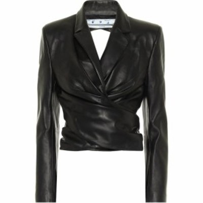 オフホワイト Off-White レディース レザージャケット アウター Cut-out cropped leather jacket Black No Color