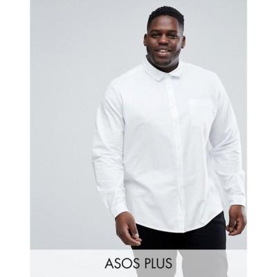 エイソス メンズ シャツ トップス ASOS PLUS Stretch Regular Fit Oxford Shirt In White