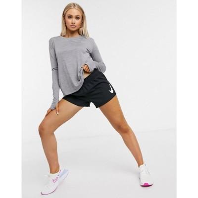 ナイキ Nike Running レディース 長袖Tシャツ トップス miler long sleeve top in grey グレー