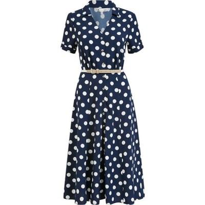 ユミ Yumi レディース ワンピース シャツワンピース ワンピース・ドレス Navy Spot Print Retro Shirt Dress Navy