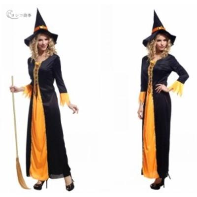 ハロウィン 魔女 魔法使い コスチューム パーティー コスプレ レディース 大人用 ワンピース 女巫仮装