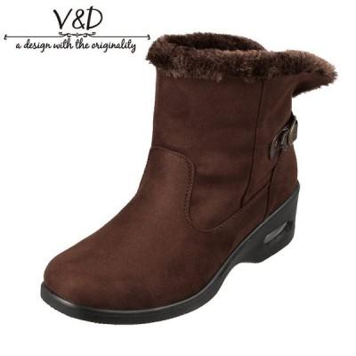 ブイ・アンド・ディー V&D VD4002 レディース | ブーツ ショートブーツ | 防水 雨の日 雪の日 | ボア 暖かい | ブラウンスウェード