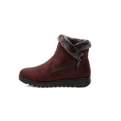 [Fisca] レディース スノーブーツ ウィンターブーツ ショートブーツ 雪用ブーツ ハイカット シューズ 冬靴 防寒 保温 防滑 暖かく保つ(ブラ