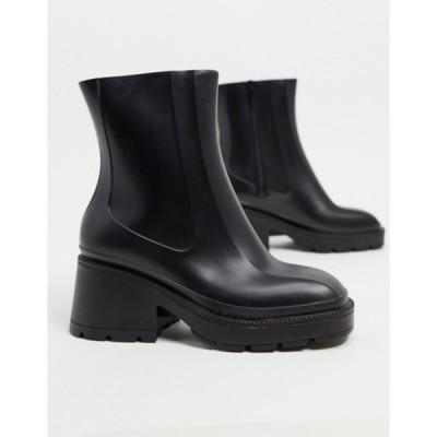 エイソス レディース ブーツ・レインブーツ シューズ ASOS DESIGN Grounded heeled rain boots in black