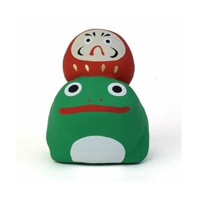 瀬戸陶芸社 置物 オブジェ かえるに乗るだるま 蛙 達磨 赤手仕事 職人 愛知県 瀬戸市 玩具工房 懐かしいけど