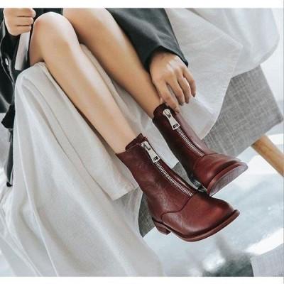 ショートブーツ レディース ローヒール 厚底 シューズ 靴 無地 カジュアルシューズ 美脚 歩きやすい 2020年秋冬新作