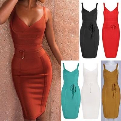 パーティードレス ミディアムドレス ワンピース 袖なし ノースリ ストラップ 包帯ドレス ボディコン 大きいサイズ DIVAセレクト