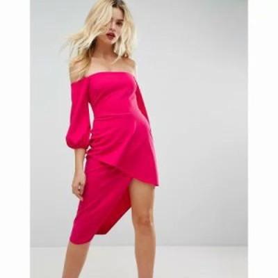 エイソス ワンピース ASOS Bardot Midi Dress With Tiered Wrap Skirt Hot pink