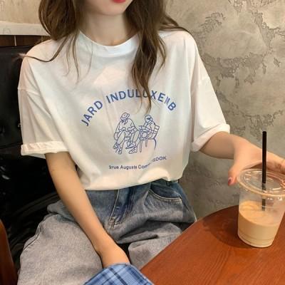 レディース Tシャツ トップス ブラウス 綿 夏 半袖 丸首 tシャツ シャツ きれいめ 上品 韓国風 通勤 OL オシャレ おしゃれ カジュアル 体型カバー 大きい