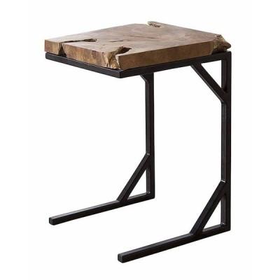 サイドテーブル 天然木(チーク) オイル仕上 アイアン(粉体塗装) W40×D30×H55 azmy-ttf-904