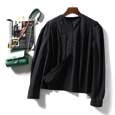 上着 長袖 シャツ バルンスリーブ ゆったり、ラウンドネック 綿質 オプション3色