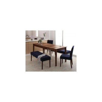 ダイニングテーブルセット 6人用 椅子 ベンチ 伸縮 伸長 5点 (机+チェア2+長椅子2) デザイナーズ スタイリッシュ ウォールナット 大きい 幅120 幅150 幅180