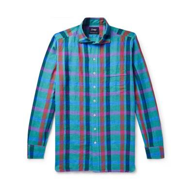DRAKE'S シャツ グリーン 38 リネン 100% シャツ