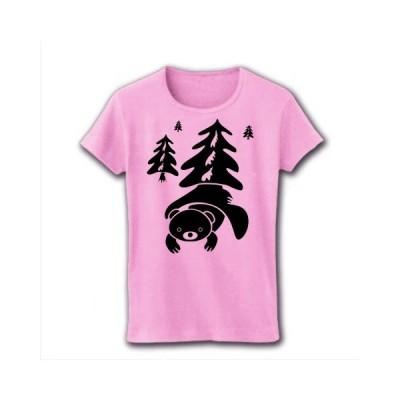 お家大好きなクマさん リブクルーネックTシャツ(ライトピンク)