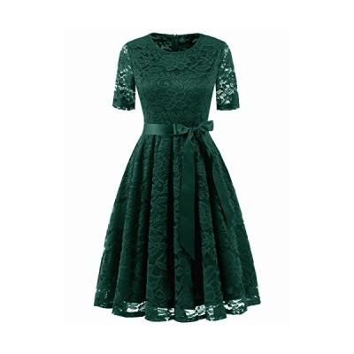 Dresstell(ドレステル) 結婚式ドレス パーティー ワンピース レース 半袖 ひざ丈 二次会 お呼ばれ 発表会 レディース ダークグリーン M