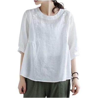 [ネコート] レディース カットソー Tシャツ ティーシャツ シャツ 五分袖 半袖 はんそで ゆったり ギャザー エスニック アジア 刺繍 薄手 カジ