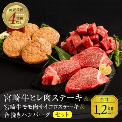 宮崎牛ヒレ肉ステーキ360g&宮崎牛モモ肉サイコロステーキ500g&合挽きハンバーグ(100g×4個)セット《合計1.2kg以上》