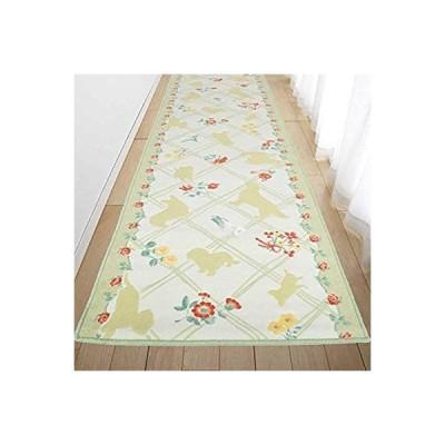 San-Luna 廊下敷きカーペット 洗える ロングカーペット 65×440cm 【ドッグ・シルエット】 日本製 (抗菌 防臭) はっ水加工 すべり止